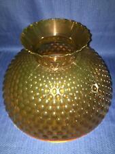 "12"" amber hobnail hurricane lamp light shade hard acrylic plastic vintage 70s"