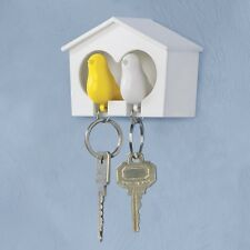 *3 PC DUO WHISTLING KEY RINGS LOVEBIRDS AND BIRDHOUSE CASE SET Birds Sparrow NEW