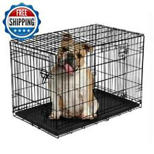 "36"" Dog Crate Kennel Folding W/ Divider Wire Metal Double Door Pet Bed Portable"