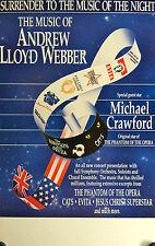 "THE MUSIC OF ANDREW LLOYD WEBBER WINDOW CARD 1991 22"" X 14"" MICHAEL CRAWFORD"