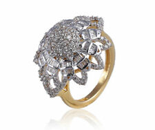 1.14 Cts Round Brilliant Cut Natural Diamonds Cocktail Ring In Hallmark 14K Gold