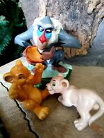 RAFIKI, SIMBA, AND NALA VINTAGE CERAMIC FIGURINES, DISNEY LION KING, NEW MINT