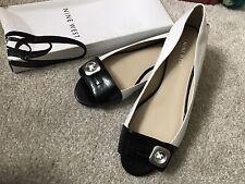Nine West Ballerina Flat Courts Leather Shoes, Uk Size 6 Black White Rrp £95