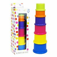 Toddler Baby 6 Coloured Stack Up Cups Tower Toy Boxed Set Stacking Counting ,NEW