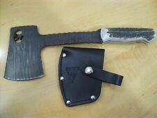 CUSTOM BUCK KNIFE AXE HATCHET 106 / STAG HANDLE / CHIP FLINT / LASER CUT OUT ELK