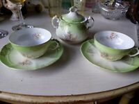 Imperial China Austria Sugar Bowl With Lid Tea cups Saucers