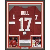 FRAMED Autographed/Signed BRETT HULL HOF 09 33x42 Detroit Red Jersey Beckett COA