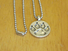 Southwestern/Western Bear Paw Silver-Tone Disc Pendant Necklaces Mens/Cub Scouts