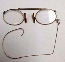 Antique Gold Filled Eye Glasses Chain & Ear Wire Slides Open Good Condition