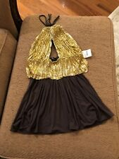 Sky Sexy Brown / Gold Halter Top size small