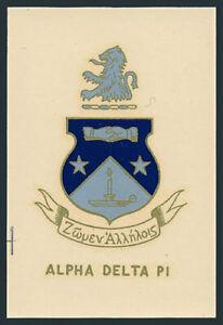 Alpha Delta Pi **RARE** Original 1960s Fraternity Decal/Sticker VTG Coat of Arms