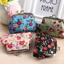 Fashion Women Retro Print Cotton Fabric Hasp Key Bag Floral Flowers Coin Purses