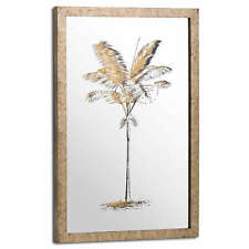 Large 60cm Metallic Mirrored Brass Palm Glass Wall Art Picture