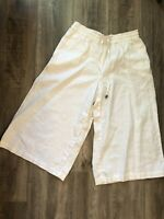 Saint Tropez West Women's White Linen Wide Leg Cropped Pull On Pants Size Small