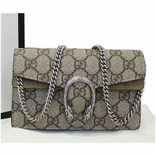 GUCCI Dionysus Mini GG Supreme Canvas Shoulder Crossbody Bag Taupe