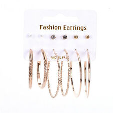 Elegant 6 pair Earrings Set Rhinestone Stud Ball Hoop Earrings Set JewelryKdK1