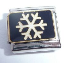 SNOWFLAKE Italian Charm - Snowing Snow Happy Christmas 9mm Classic size tile