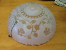 1920'S Light Fixture-Light Pink-Frosted-Floral Design-Has The Pull Chain-Look!
