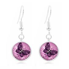 Purple Butterfly glass Earrings Art Photo Tibet silver Earring Jewelry #78