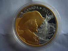 2008 Canadian Quebec City Commemorative Proof Silver Dollar - 24K Gold Plated!