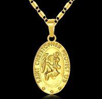18k Yellow Gold Vintage Saint Christopher Necklace Mens Womens Link Chain D753