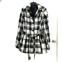 JOU JOU Womens Size L Black White Plaid Belted Lined Wool Blend Pea Coat