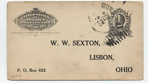 1911 Murray Ohio duplex handstamp on reply card [5814.83]
