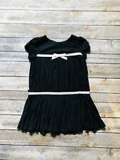 Janie and Jack Girls Black pleated Swing dress Black white trim size 2T Holiday