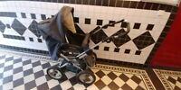 Kinderwagen teutonia gebraucht, dunkelblau, Luftreifen + Hartschale + Matratze