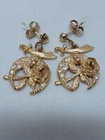 Masons Daughters Of The Nile Eastern Star Masonic Gold Tone Rhinestone Earrings
