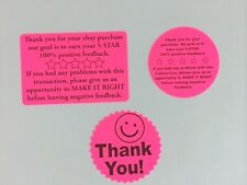 45 THANK YOU Pack Stickers Labels Neon NEW THANK YOU for your purchase ebay NEW