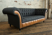 MODERN CHARCOAL WOOL & TAN LEATHER 3 SEATER CHESTERFIELD SOFA COUCH