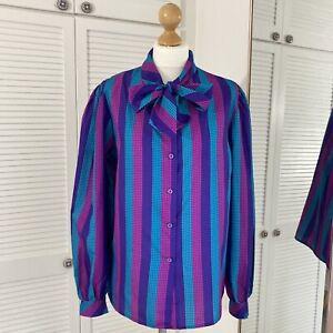 Robert James Vintage Blouse Size M L Checked Grid Tie Neck Striped Geek Mod 90s