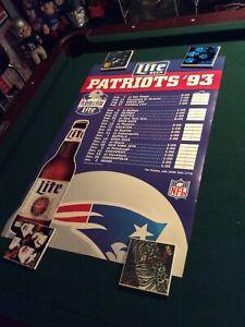 New England Patriots 1993 Miller Lite Beer Stadium Poster Schedule 20x30