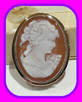 LARGE HEAVY 8.2G 9CT GOLD GENUINE SHELL CAMEO VINTAGE ENGLISH BROOCH/PENDANT HM