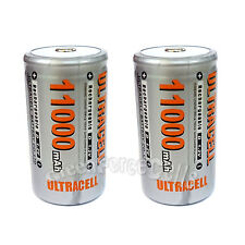 2 pcs D Size 1.2V Volt 11000mAh Ni-MH Rechargeable Battery Cell Ultracell