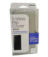 ORIGINAL SAMSUNG Galaxy S7 EDGE S-View Flip Cover Folio Case Clear / Silver