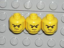 LEGO 3 Yellow Minifigure Heads Beard Stubble Black Angry Scowl Criminal 60130