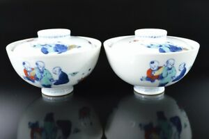 L7430: Japan Old Imari-ware Colored porcelain Person TEA BOWL/dish of soup 2pcs