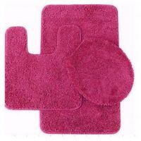 Bathroom Set Mat Rug Lid Cover Fluffy Long Hair Faux Fur Shag 3pc #9 HOT PINK