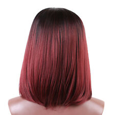 Fashion Lady Medium Straight Wig Black Gradient Wine Red Ombre Wig Synthetic
