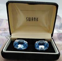 "Vintage~~Swank Pentagram S~~1940's~~Silver Tone~~ Bright Blue 1"" Topaz Cufflinks"