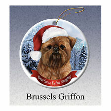 Brussels Griffon Howliday Porcelain China Dog Christmas Ornament