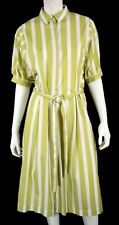 THIERRY COLSON Chartreuse & White Striped Cotton Belted Shirt Dress S