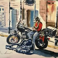 "ORIGINAL painting new orleans stoker Harley  youtube 15"" x 11""  Marilyn Allis"