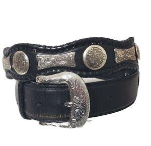 Tony Lama Western Belt Leather Men's Size 36 Black Belt Silver Conchos