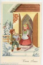 Bambino Zampognaro Cornamusa Musica Neve Children Bagpipe Xmas PC Circa 1930 3