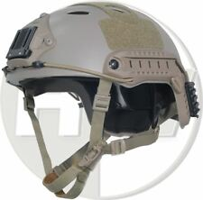 AIRSOFT CARBON PJ TYPE OPS FAST BASE JUMP HELMET TAN SAND DE WITH ARC RAILS