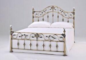 NEW ELIZABETH LUXURY SOLID METAL ANTIQUE BRASS FINISH BED FRAME IN 4FT6 & 5FT