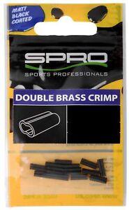 Spro Matt Black W-BRASS CRIMP # 1.2×2.6×8mm Double Klemmhülsen 17 Quetschhülsen